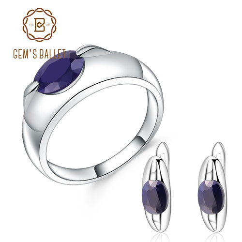 Women's 925 Sterling Silver and Natural Blue Sapphire Jewelry Set with Ring and Matching Drop Earrings