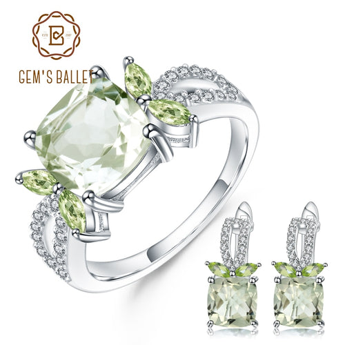 Women's 925 Sterling Silver and Natural Green Prasiolite Jewelry Set with Ring and Matching Drop Earrings