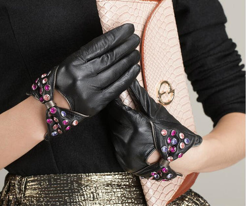 Women's Genuine Leather Short Gloves with Diamond Decoration