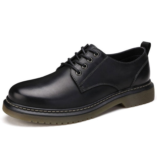Men's Casual Genuine Leather Lace Up Pointed Toe Shoes