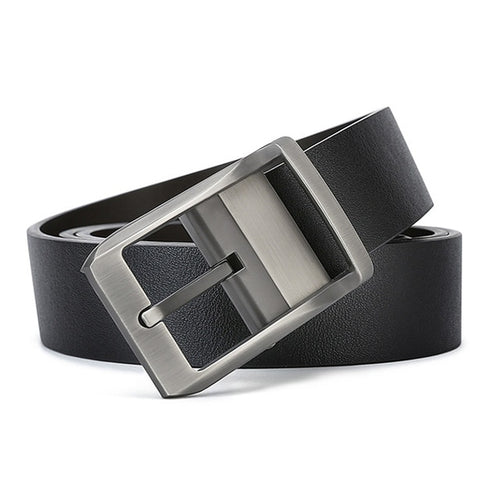 Men's Genuine Leather Casual Belt with Metal Buckle