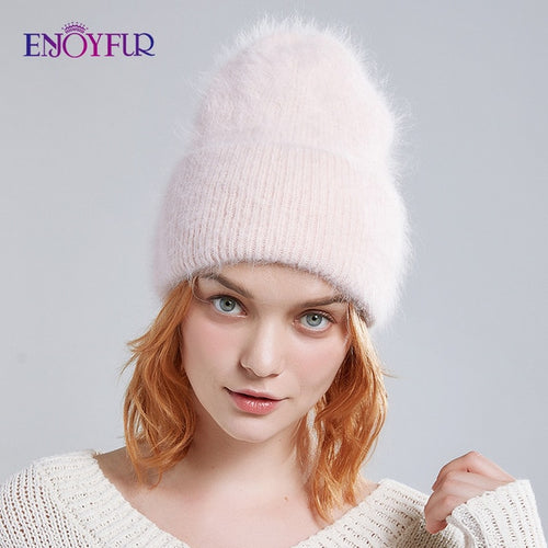 Women's Angora Wool Fluffy Pom Pom Winter Hat
