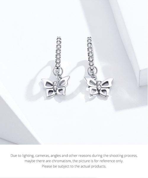 Women's 925 Sterling Silver Butterfly Drop Earrings
