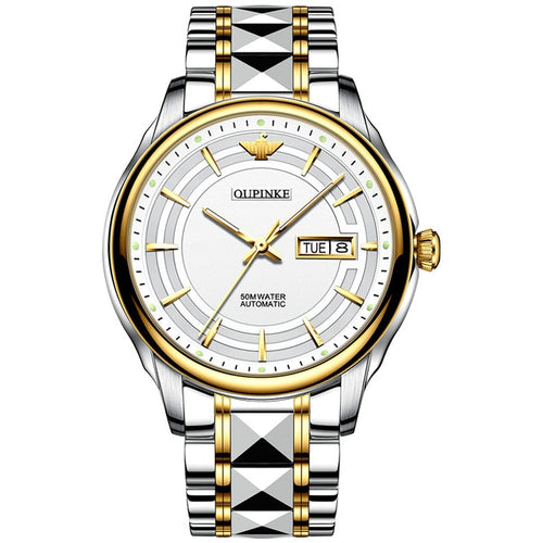 Men's Stainless Steel Waterproof Mechanical Automatic Watch with Auto Date