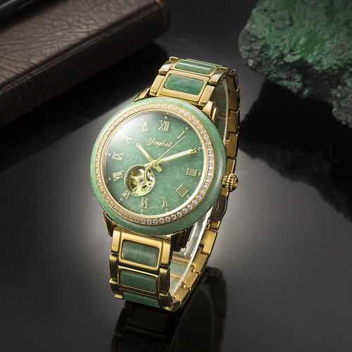 Men's Natural Jade Waterproof Round Mechanical Automatic Watch with Luminous Hands