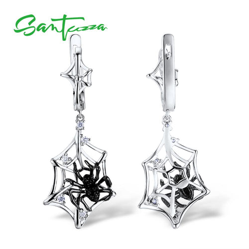 Women's 925 Sterling Silver Spider Net Drop Earrings
