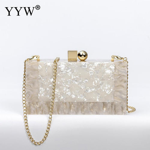 Women's Minaudiere Pearl Evening Clutch Crossbody Bag with Chain