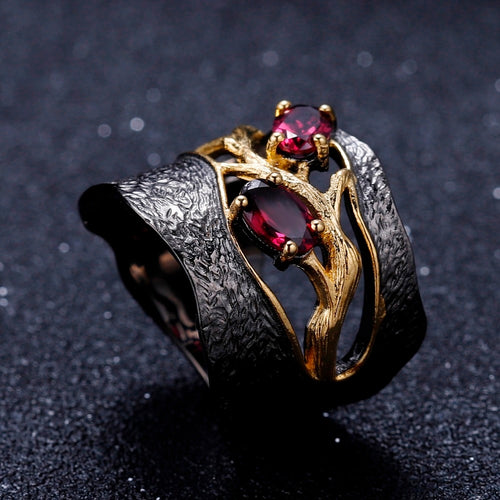 Women's Gold Plated 925 Sterling Silver and Natural Rhodolite Garnet Gemstone Branch Ring