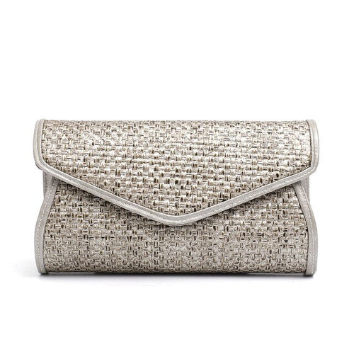 Women's Handmade Rattan Clutch Crossbody Bag with Chain