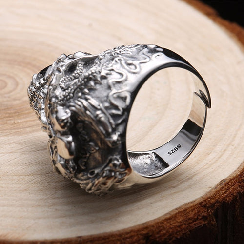 Zabra 925 Sterling Silver Skull Adjustable Ring