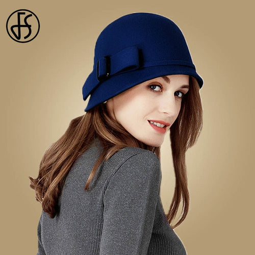 Women's Wide Brim Wool Felt Cloche Hat with Bowknot Decoration