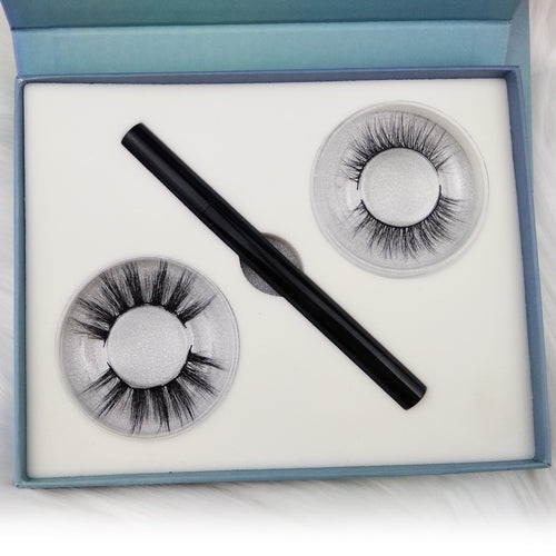 Liquid Self Adhesive Eyelashes Waterproof Eye Liner Pen 2 in 1
