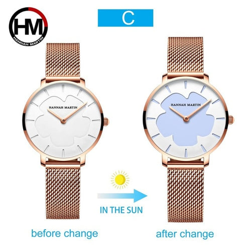 Women's 3 ATM Waterproof Stainless Steel Quartz Watch with Color Changing Dial