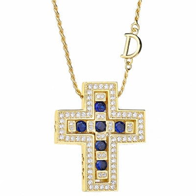 Women's 925 Sterling Silver Zircon Crystal Double Cross Pendant Necklace