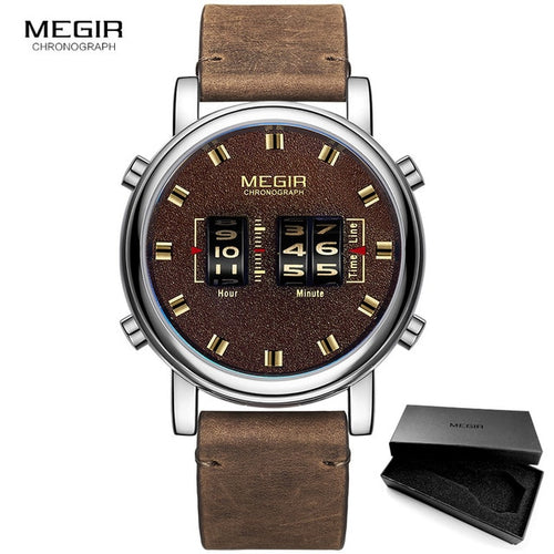 Men's 3 ATM Waterproof Quartz Watch with Leather Strap
