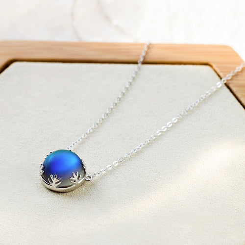 Women's 925 Sterling Silver Round Crystal Pendant Necklace