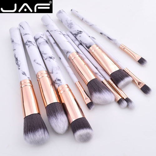 JAF 10pcs Marble Makeup Brush Set with Holder