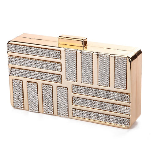 Women's Minaudiere Acrylic Evening Clutch Crossbody Bag with Chain