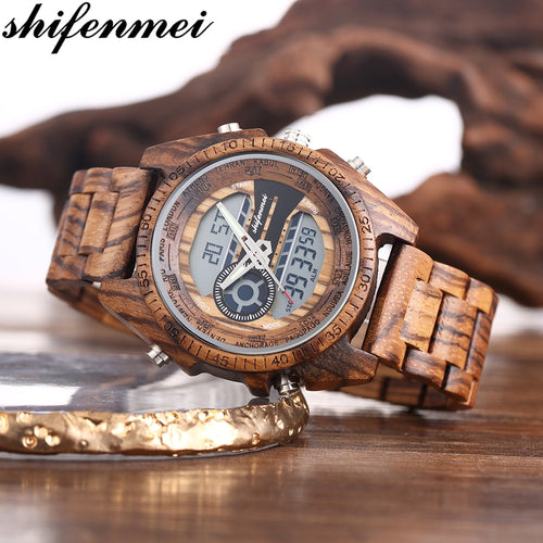 Men's Wooden Watch with Dual Display and Luminous Hands