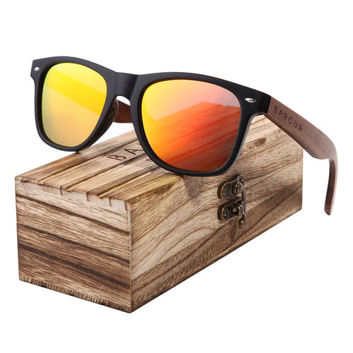 Men's Walnut Wooden Mirrored Polarized Square Sunglasses UV400