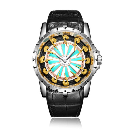 Men's Stainless Steel 3 ATM Waterproof Knight Quartz Watch with Luminous Hands