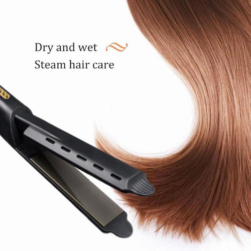 Professional 2 in 1 Ceramic Hair Straightener and Curling Iron with Steam