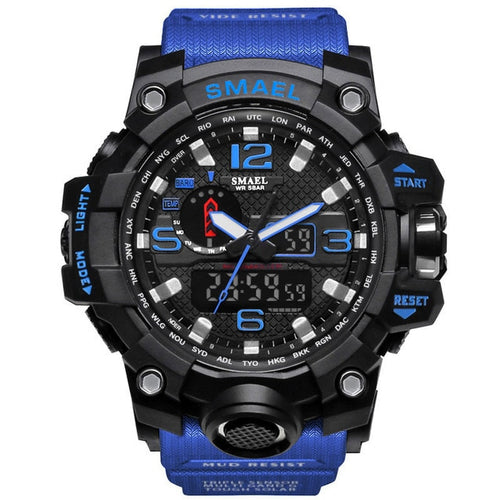 Men's 5 ATM Waterproof Hardlex Quartz Watch with Dual Display