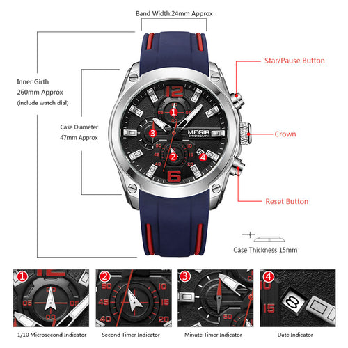 Men's 3 ATM Waterproof Hardlex Chronograph Quartz Watch with Luminous Hands and Silicone Strap