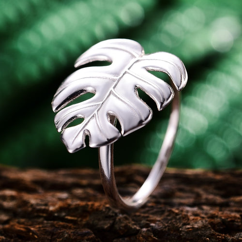 Women's 925 Sterling Silver 18K Gold Plated Monstera Leaf Ring