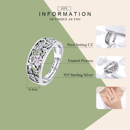 Women's 925 Sterling Silver Daisy Flower Ring with Inscription