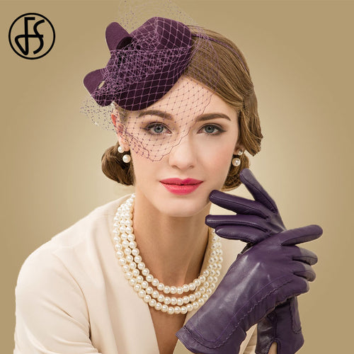 Women's 100% Wool Pillbox Fascinator Hat Hairband with Veil for Church Wedding