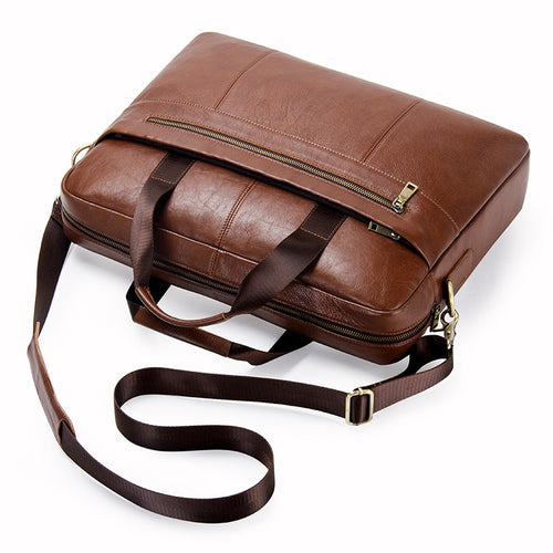Men's Genuine Leather Messenger Shoulder Bag Briefcase Suitable for Laptop