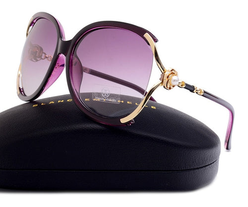 Women's Oversized Polarized Butterfly Gradient Sunglasses with Pearl Decoration UV400