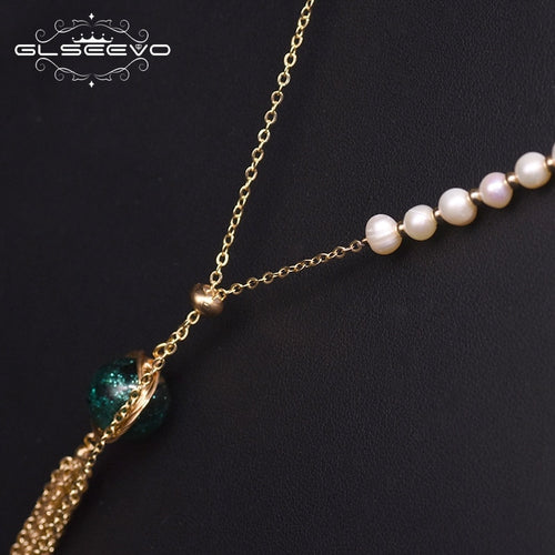 Women's Freshwater Pearl Long Pendant Necklace with Tassel