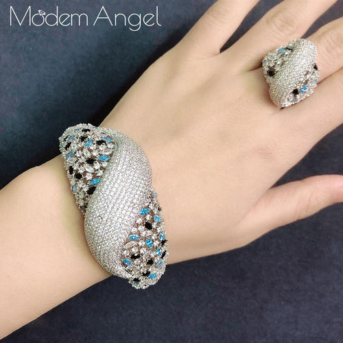 Women's Crystal Jewelry Set with Finger Ring and Matching Bangle Bracelet