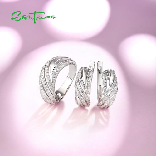 Women's 925 Sterling White Crystal Jewelry Set with Earrings and Matching Ring