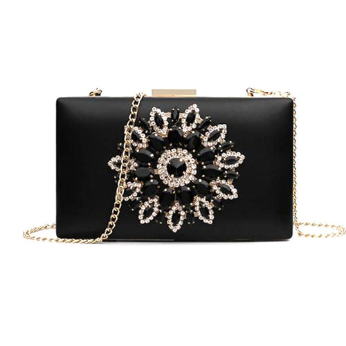 Women's Minaudiere Evening Clutch Crossbody Bag with Crystal Decoration and Chain