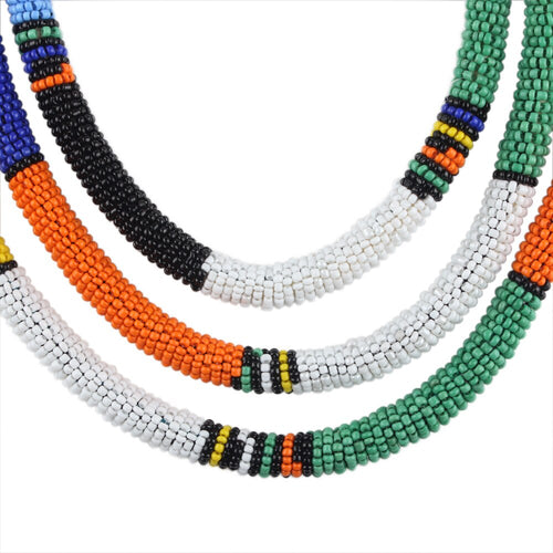 Women's Ethnic Style Long Multiple Layer Small Bead Necklace
