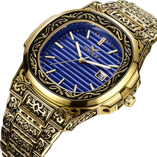 Men's Carved Stainless Steel 3 ATM Waterproof Quartz Watch with Complete Calendar