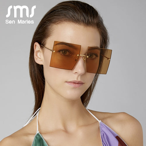 Women's Polarized Oversized Rimless Square Sunglasses