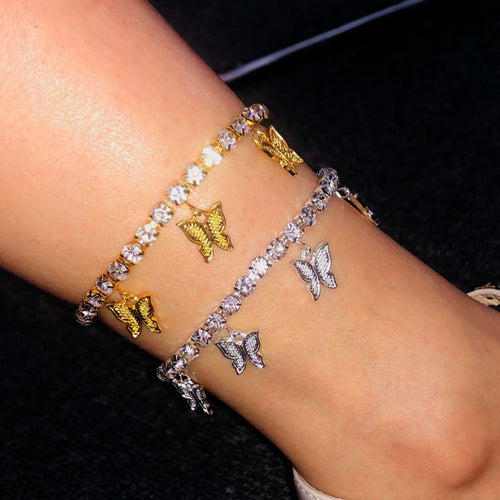 StoneFans Gold Butterfly Anklet Rhinestone Jewelry for Women