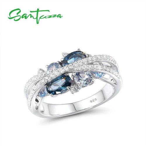 Women's Genuine 925 Sterling Silver Blue Spinel Crystal Ring