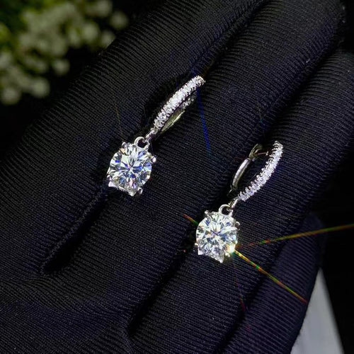 Women's 925 Sterling Silver Moissanite Gemstone Dangling Earrings