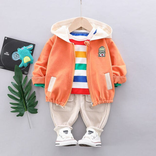 Baby Boys' Clothing Set with Hooded Jacket Striped Long Sleeve T-Shirt and Sweatpants with Front Pockets
