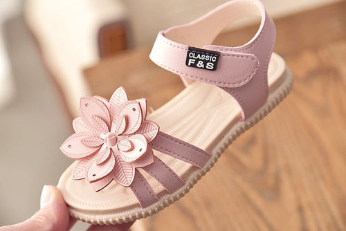 Girls' Open Toe Ankle Strap Sandals with Flower Decoration