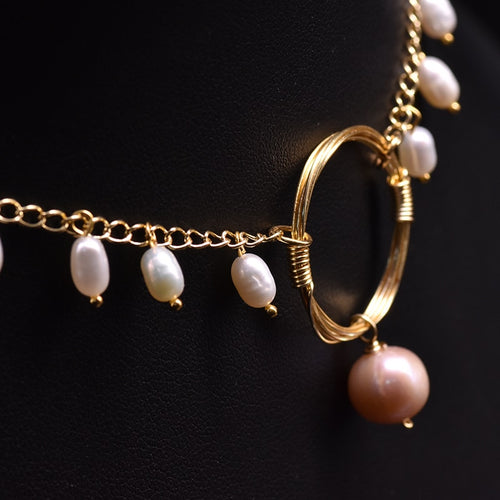 Women's Freshwater Pearl and 14K Gold Plated Choker Necklace