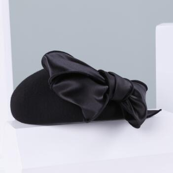 Women's Wool Pillbox Fascinator Hat Headpiece with Bow Decoration