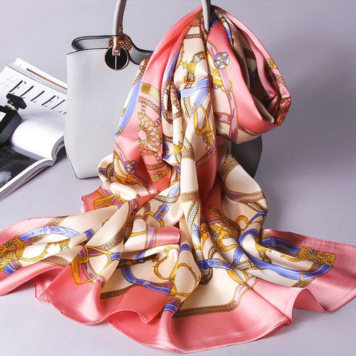 Women's 100% Silk Long Patterned Scarf