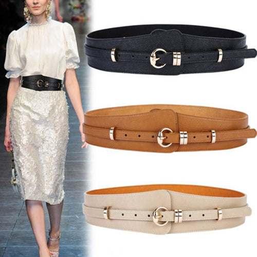 Women's Leather Wide Waist Corset Belt