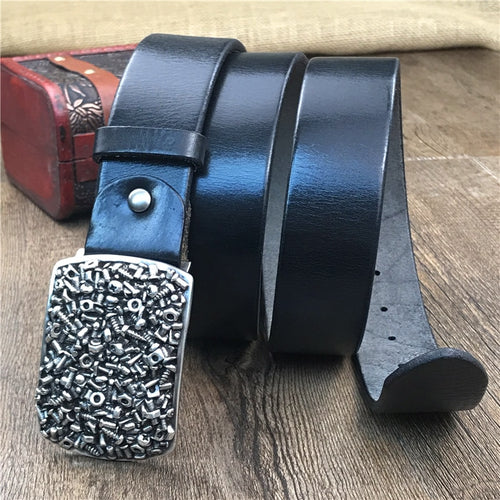 Men's Genuine Cowskin Leather Belt with Alloy Screw Buckle